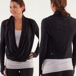 Lululemon Black Iconic Wrap Long Sleeve Shrug Sz 8